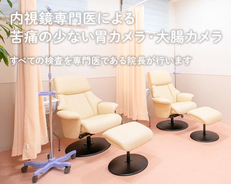内視鏡専門医による苦痛の少ない胃カメラ・大腸カメラ すべての検査を専門医である院長が行います